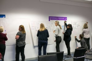 group drawing at wall during training course